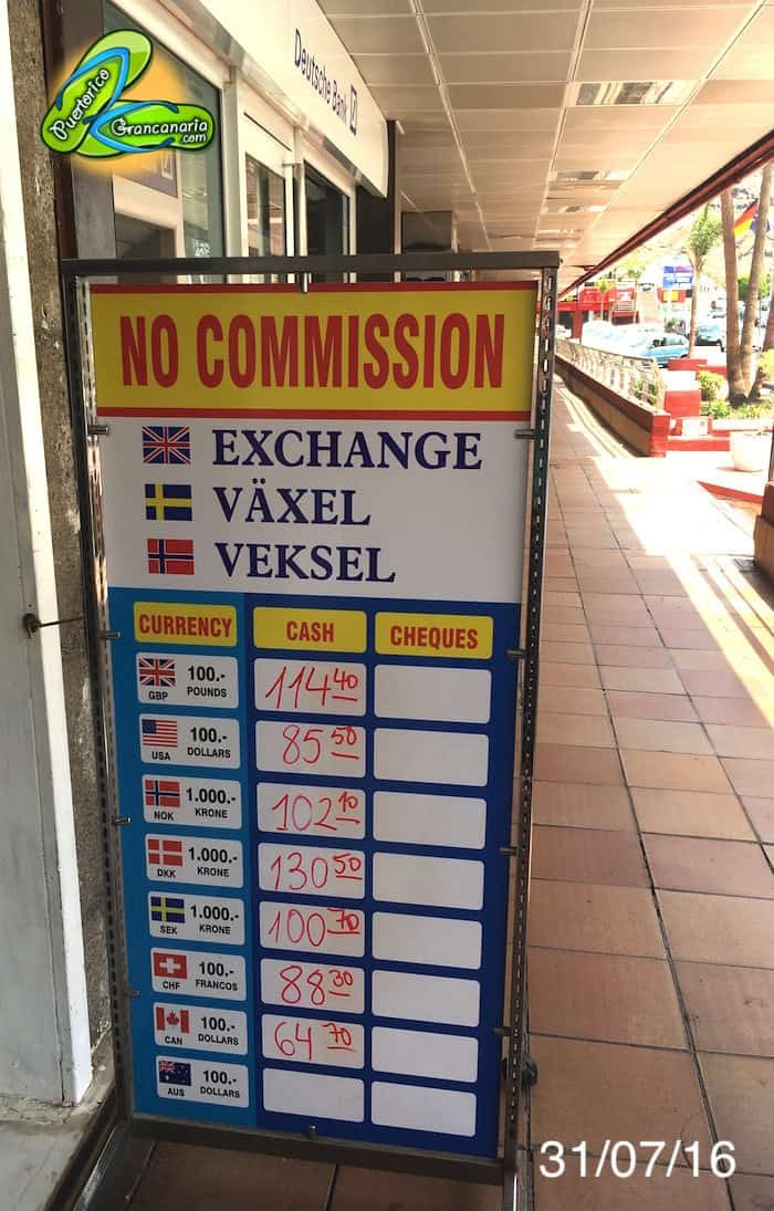 Gran Canaria Exchange Rate July 2016